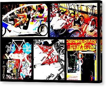 Biking In Barcelona Canvas Print by Funkpix Photo Hunter