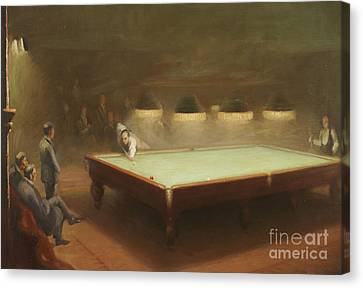 Billiard Match At Thurston Canvas Print by English School