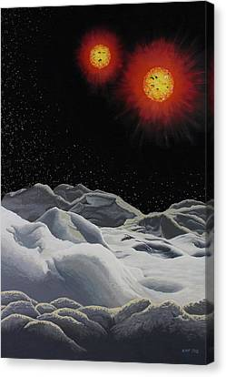 Binary Red Dwarf Stars 2 Canvas Print by Kurt Kaf