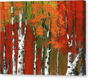 Birch Trees In An Autumn Forest Canvas Print by Anastasiya Malakhova
