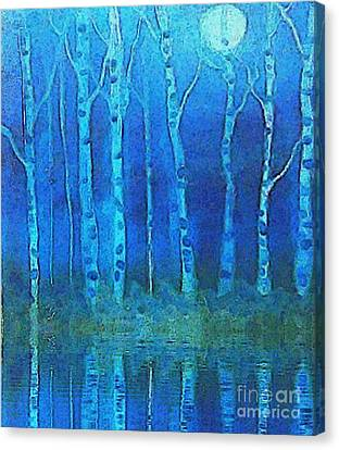Birches In Moonlight Canvas Print by Holly Martinson