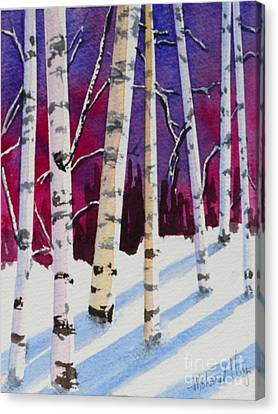 Birches In The Sun Canvas Print by Mohamed Hirji
