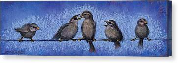 Bird Babies On A Wire Canvas Print by Susan Jenkins