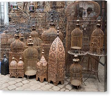 Bird Cages For Sale In Souk, Marrakesh Canvas Print by Panoramic Images