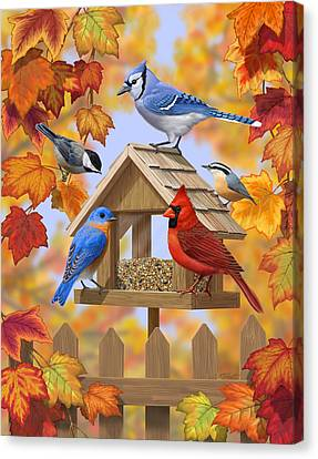 Bird Painting - Autumn Aquaintances Canvas Print by Crista Forest