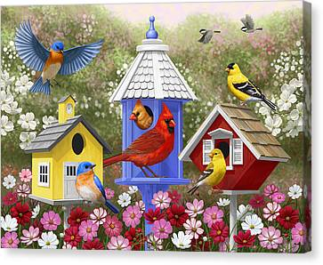 Bird Painting - Primary Colors Canvas Print by Crista Forest