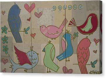 Birdie Tea Party Canvas Print by Ashley Price