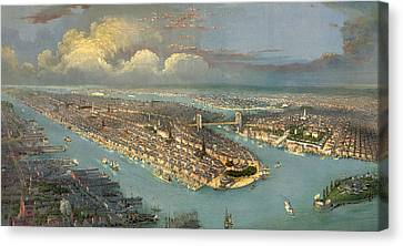 Bird's Eye View Of New York City  Canvas Print by American School