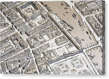 Birds Eye View Of Paris, France, In Canvas Print by Vintage Design Pics