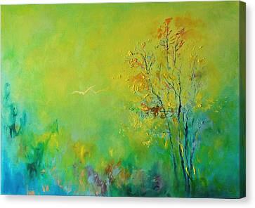 Birds In Summer Light Canvas Print by Demeter Gui