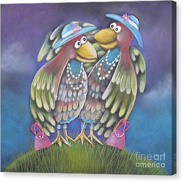 Birds Of A Feather Stick Together Canvas Print by Caroline Peacock