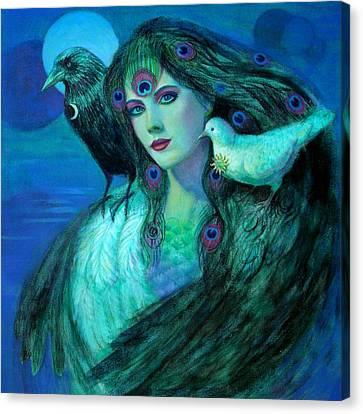 Birds Of Duality Fantasy Art Canvas Print by Sue Halstenberg