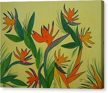 Birds Of Paradise Canvas Print by Elizabeth Ribet