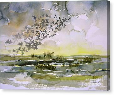 Birds Rising I Canvas Print by Julianne Felton