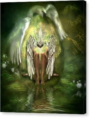 Birth Of A Swan Canvas Print by Carol Cavalaris