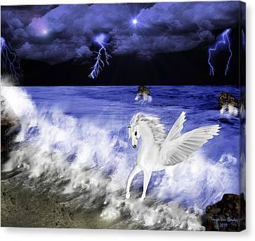 Birth Of Pegasus Canvas Print by Tanya Van Gorder