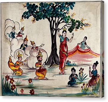 Birth Of The Buddha Scene With Queen Canvas Print by Wellcome Images
