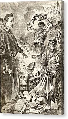 Bishop Tunstall Burning Copies Of Canvas Print by Vintage Design Pics