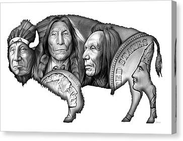 Bison Indian Montage 2 Canvas Print by Greg Joens