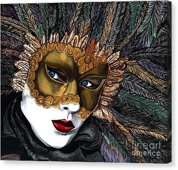 Black And Gold Carnival Mask Canvas Print by Patty Vicknair