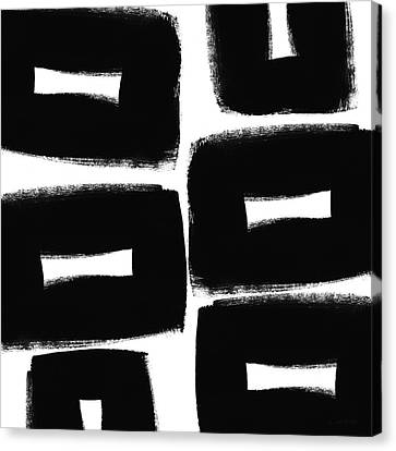 Black And White Abstract- Abstract Painting Canvas Print by Linda Woods