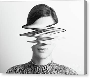 Black And White Abstract Woman Portrait Of Restlessness Concept Canvas Print by Radu Bercan