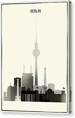 Black And White Berlin Skyline Canvas Print by Dim Dom