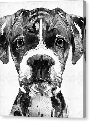 Black And White Boxer Dog Art By Sharon Cummings  Canvas Print by Sharon Cummings