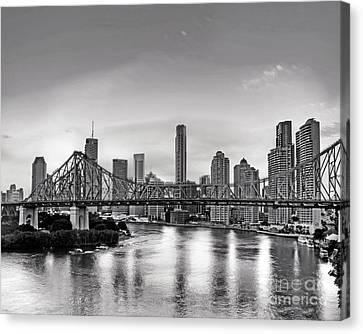 Black And White Brisbane Landscape Canvas Print by Chris Smith