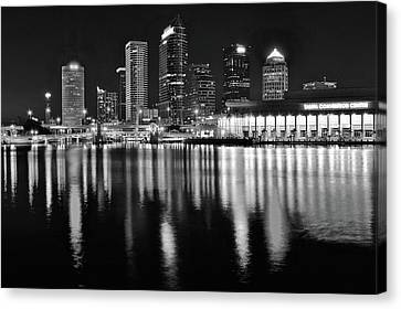 Black And White Harbor In Tampa Bay Canvas Print by Frozen in Time Fine Art Photography
