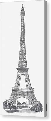 Black And White Illustration Of Eiffel Tower Canvas Print by Dorling Kindersley