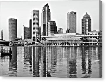 Black And White In The Heart Of Tampa Bay Canvas Print by Frozen in Time Fine Art Photography