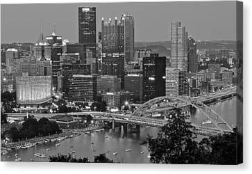Black And White Of Pittsburgh Canvas Print by Frozen in Time Fine Art Photography