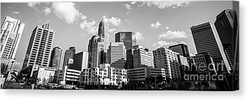 Black And White Panorama Photo Of Charlotte Skyline Canvas Print by Paul Velgos