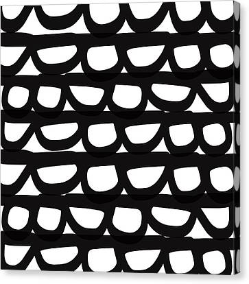 Black And White Pebbles- Art By Linda Woods Canvas Print by Linda Woods