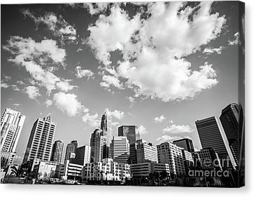 Black And White Photo Of Charlotte Skyline Canvas Print by Paul Velgos