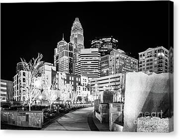 Black And White Photo Of The Charlotte Skyline Canvas Print by Paul Velgos