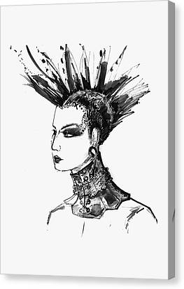 Black And White Punk Rock Girl Canvas Print by Marian Voicu