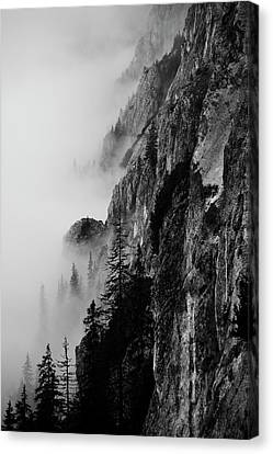 Black And White Silhouette Of The Mountains. Canvas Print by Made By  Vitaliebrega.com