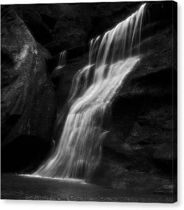 Black And White Smooth Waterfall Canvas Print by Dan Sproul