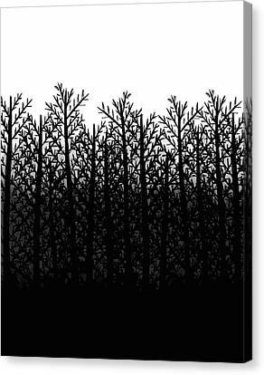 Black And White Winter Trees Canvas Print by Rachel Follett
