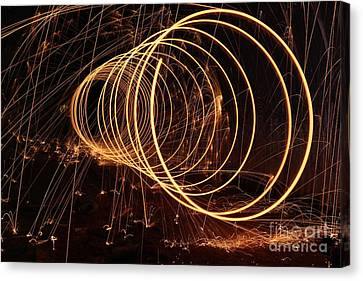 Black And Yellow Fireworks Canvas Print by Amy Wilkinson