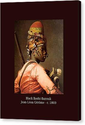 Black Bashi-bazouk - C. 1869 Canvas Print by Jean-Leon Gerome