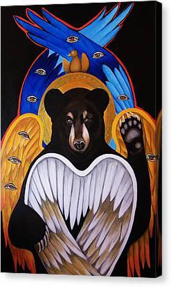 Black Bear Seraphim Canvas Print by Christina Miller
