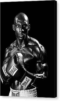 Black Boxer In Black And White 05 Canvas Print by Val Black Russian Tourchin