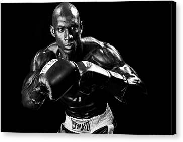 Black Boxer In Black And White 07 Canvas Print by Val Black Russian Tourchin