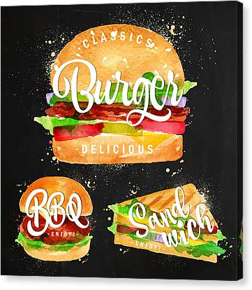 Black Burger Canvas Print by Aloke Design
