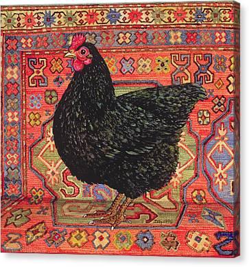 Black Carpet Chicken Canvas Print by Ditz