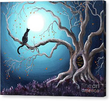 Black Cat In A Haunted Tree Canvas Print by Laura Iverson