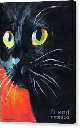 Black Cat Painting Portrait Canvas Print by Svetlana Novikova